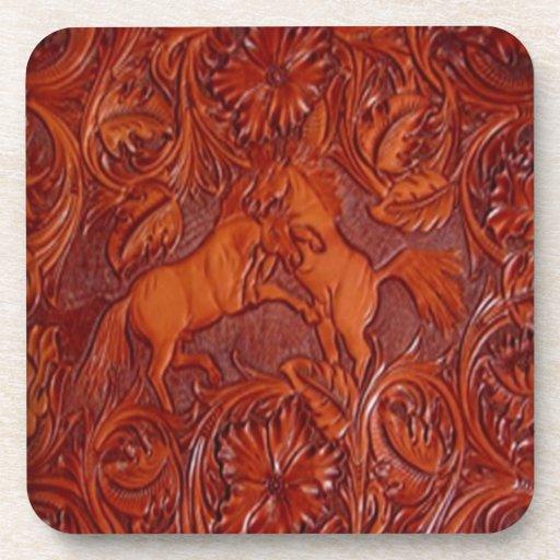 wildhorses- leather look beverage coaster