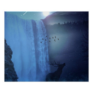 Wildlife and Waterfalls Poster
