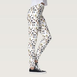 Wildlife Animal Pattern, Ladies White Leggings
