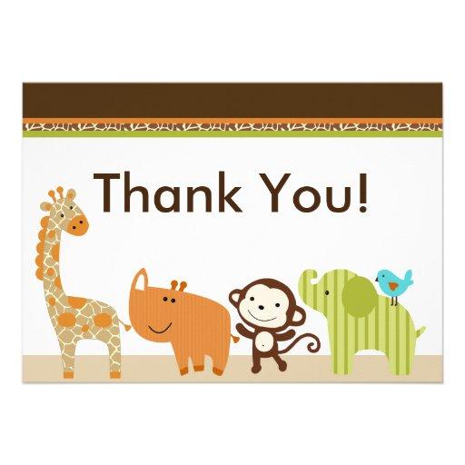 Wildlife Animals Jungle Thank You Card Invitations