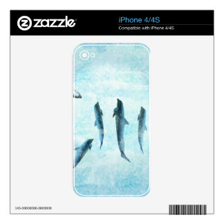 wildlife aquatic, dancing dolphins decals for the iPhone 4S