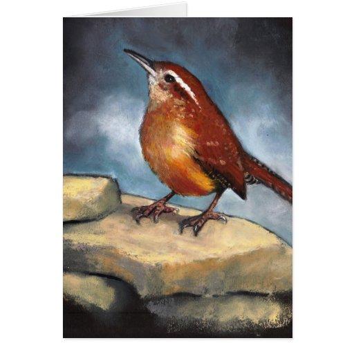 Wildlife Art: Carolina Wren on Rocks: Pastel Card