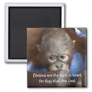 Wildlife baby  Blessed are the pure in heart Refrigerator Magnet