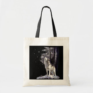 Wildlife bag with romantic howling wolf scene