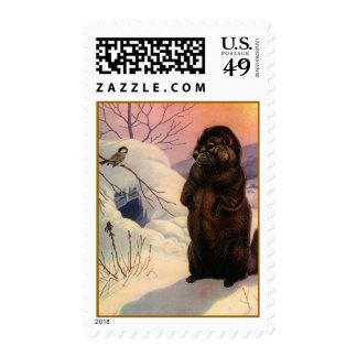 WILDLIFE Beaver & Chickadee Sunset Winter Day Stamp