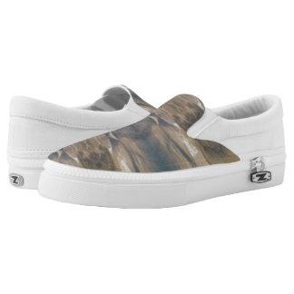 Wildlife Black Brown White Zips Slip On Printed Shoes