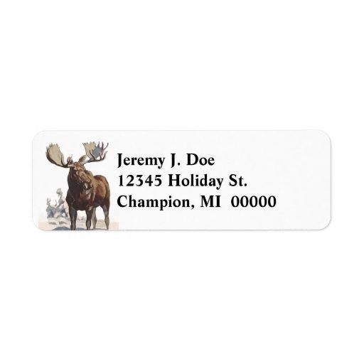 Wildlife Bull Moose Winter Return address Labels