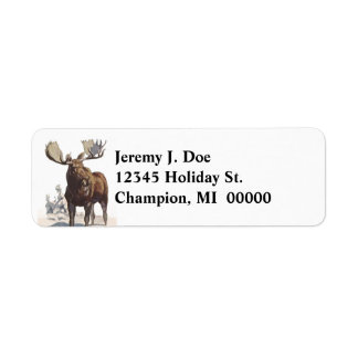 Wildlife Bull Moose Winter Return address Labels