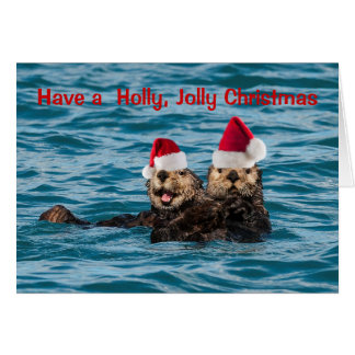Wildlife Christmas Card, Otters Wearing Santa Hats Card