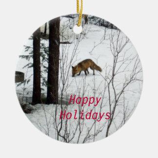 Wildlife Christmas Fox Ceramic Ornament
