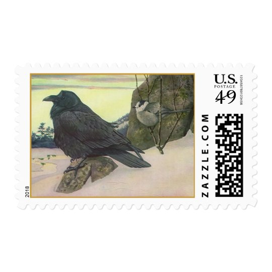 WILDLIFE Crow & Chickadee See Winter's Approach Postage