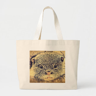 Wildlife Cuddly Cute Sea Animal  baby otter Large Tote Bag