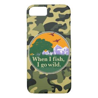 Wildlife fishing badge: When I fish I go wild, iPhone 7 Case
