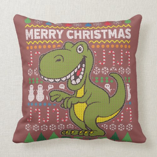 Wildlife Green Dino Merry Christmas Ugly Sweater Throw Pillow