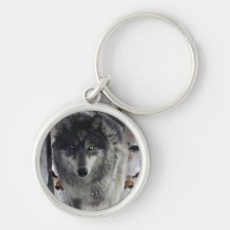 Wildlife Grey Wolf and Forest design Keychain