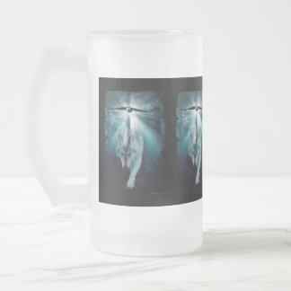 Wildlife Grey Wolf Animal-lover design Frosted Glass Beer Mug