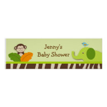 Wildlife Jungle Animal Baby Shower Banner Sign Poster