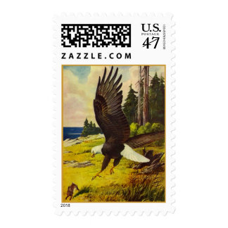 WILDLIFE ~ North American Bald Eagle In Approach Postage Stamp