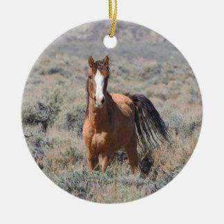 Wildlife ornament, wild horses ceramic ornament
