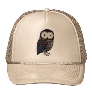 Wildlife Owl Black and Red Screeching Owl Graphic Mesh Hat