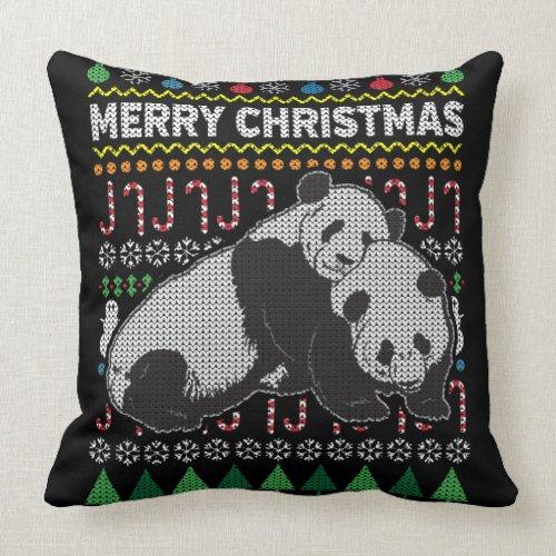 Wildlife Panda Merry Christmas Ugly Sweater Throw Pillow