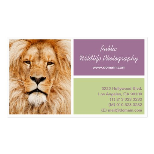 Wildlife Photographer Business Card (back side)