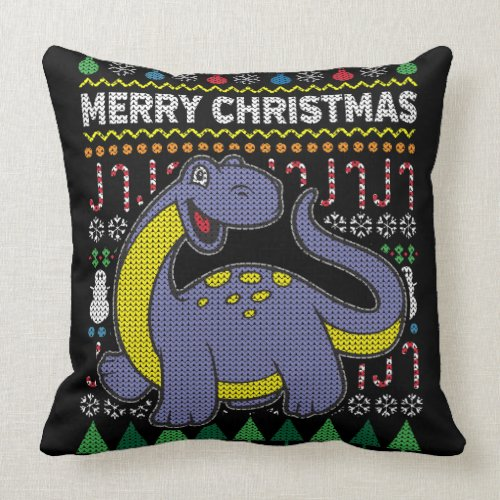 Wildlife Purple Dino Merry Christmas Ugly Sweater Throw Pillow
