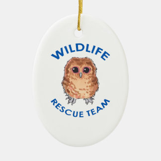 WILDLIFE RESCUE TEAM Double-Sided OVAL CERAMIC CHRISTMAS ORNAMENT