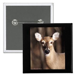 Wildlife Whitetail Deer Doe Portrait Pinback Button