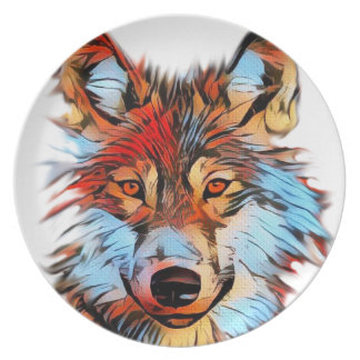 Wildlife Wolf Art Melamine Plate