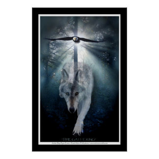 Wildlife Wolf & Eagle Art Print