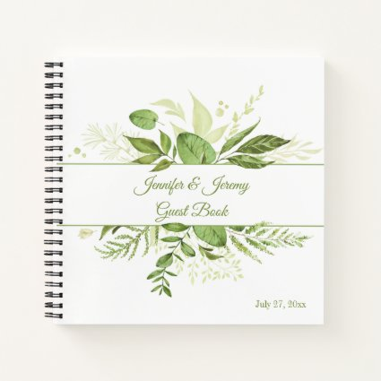Wildwood Botanical Rustic Greenery Guest Book