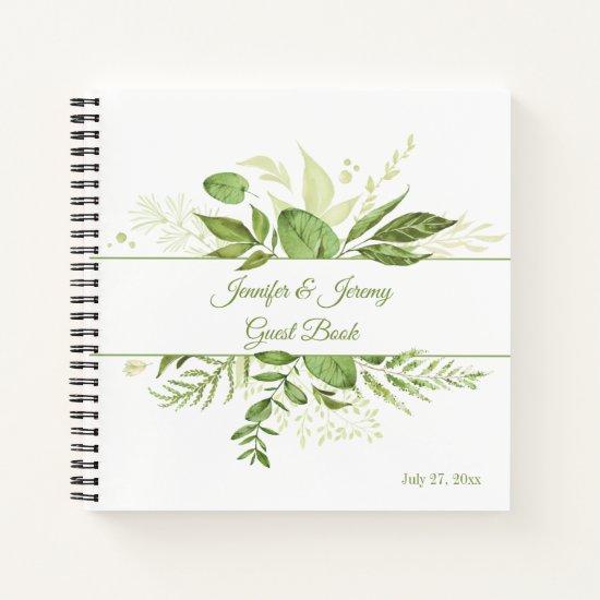 Wildwood Botanical Rustic Greenery Guest Book