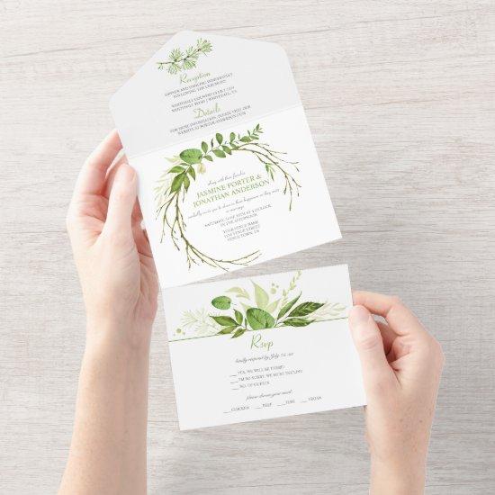 Wildwood Botanical Rustic Wreath Wedding     All In One Invitation