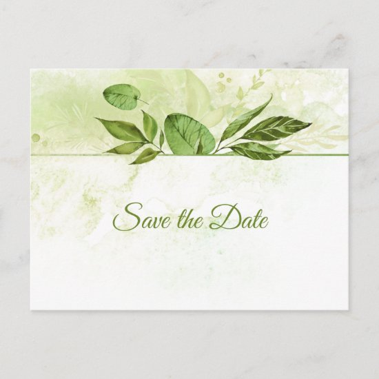 Wildwood Botanicals Rustic Greenery Save the Date Announcement Postcard
