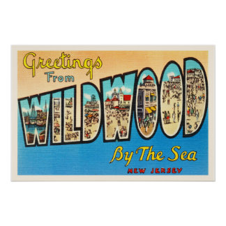 Wildwood by the Sea New Jersey NJ Vintage Postcard Poster