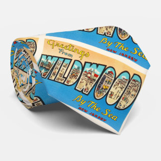 Wildwood por la postal del vintage de New Jersey Corbata Personalizada