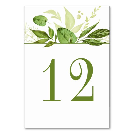 Wildwoods Botanical Rustic Greenery Watercolor Table Number