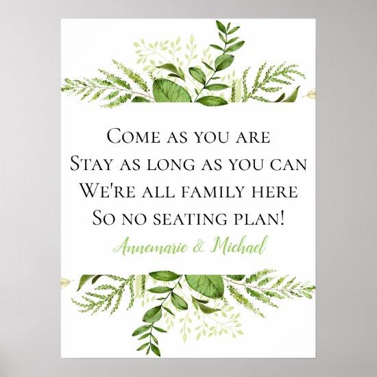 Wildwoods Botanicals No Seating Plan Wedding Sign