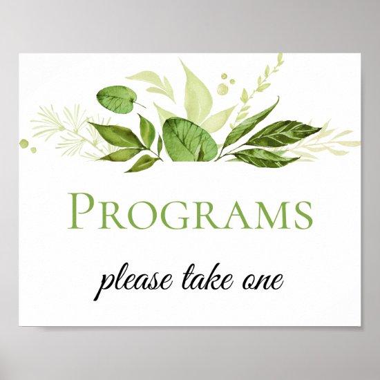 Wildwoods Botanicals Wedding Programs Poster