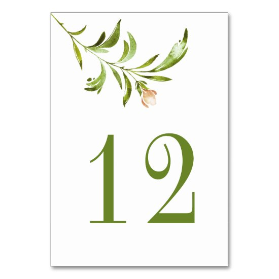 Wildwoods Rustic Floral Greenery Minimalist Table Number