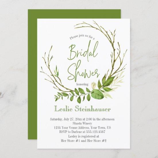 Wildwoods Rustic Wreath Bridal Shower Invitation