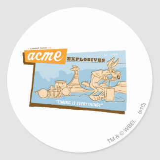 Wile E Coyote Acme Explosives 2 Classic Round Sticker