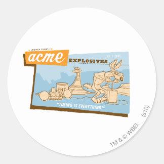 Wile E Coyote Acme Explosives 2 Classic Round Sticker