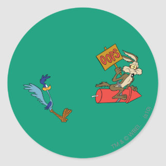 Wile E Coyote and ROAD RUNNER™ Acme Products 5 2 Classic Round Sticker