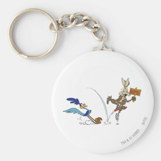 Wile E Coyote and ROAD RUNNER™ Acme Products 7 Basic Round Button Keychain