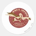 Wile E. Coyote Genius Etiqueta Redonda