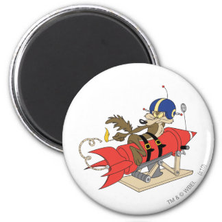 Wile E. Coyote Launching Red Rocket 2 Inch Round Magnet