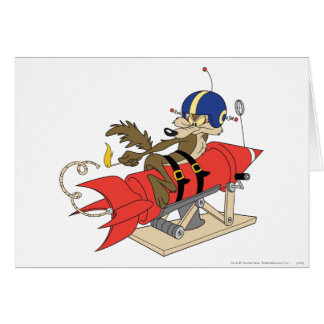 Wile E. Coyote Launching Red Rocket Greeting Card