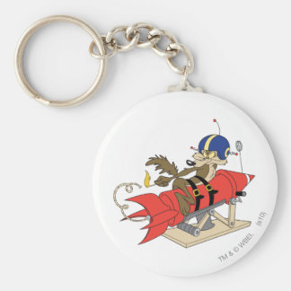 Wile E. Coyote Launching Red Rocket Llavero Redondo Tipo Pin
